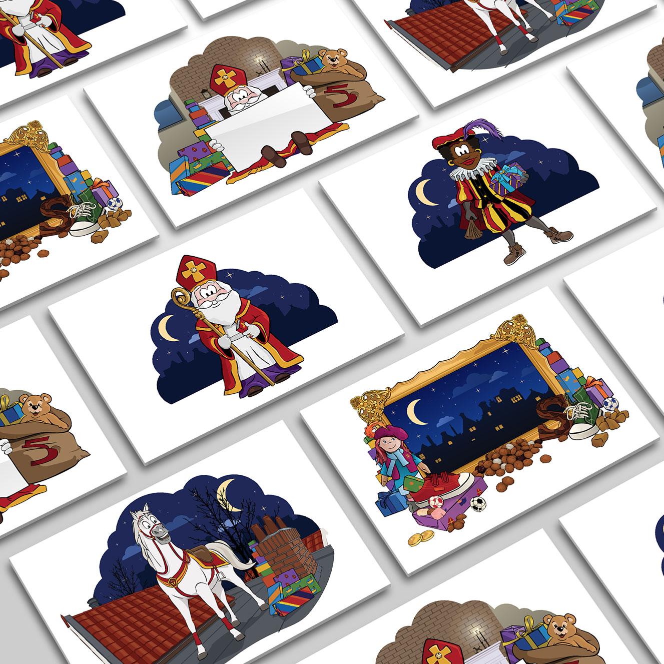 Sinterklaas Zwarte Piet Illustratie Artwork Overzicht